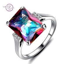 New 10x14MM Mystic Fire Rainbow Topaz Engagement Wedding Ring Solid 925 Sterling Rectangle Unique Top Brand Jewelry Accessories