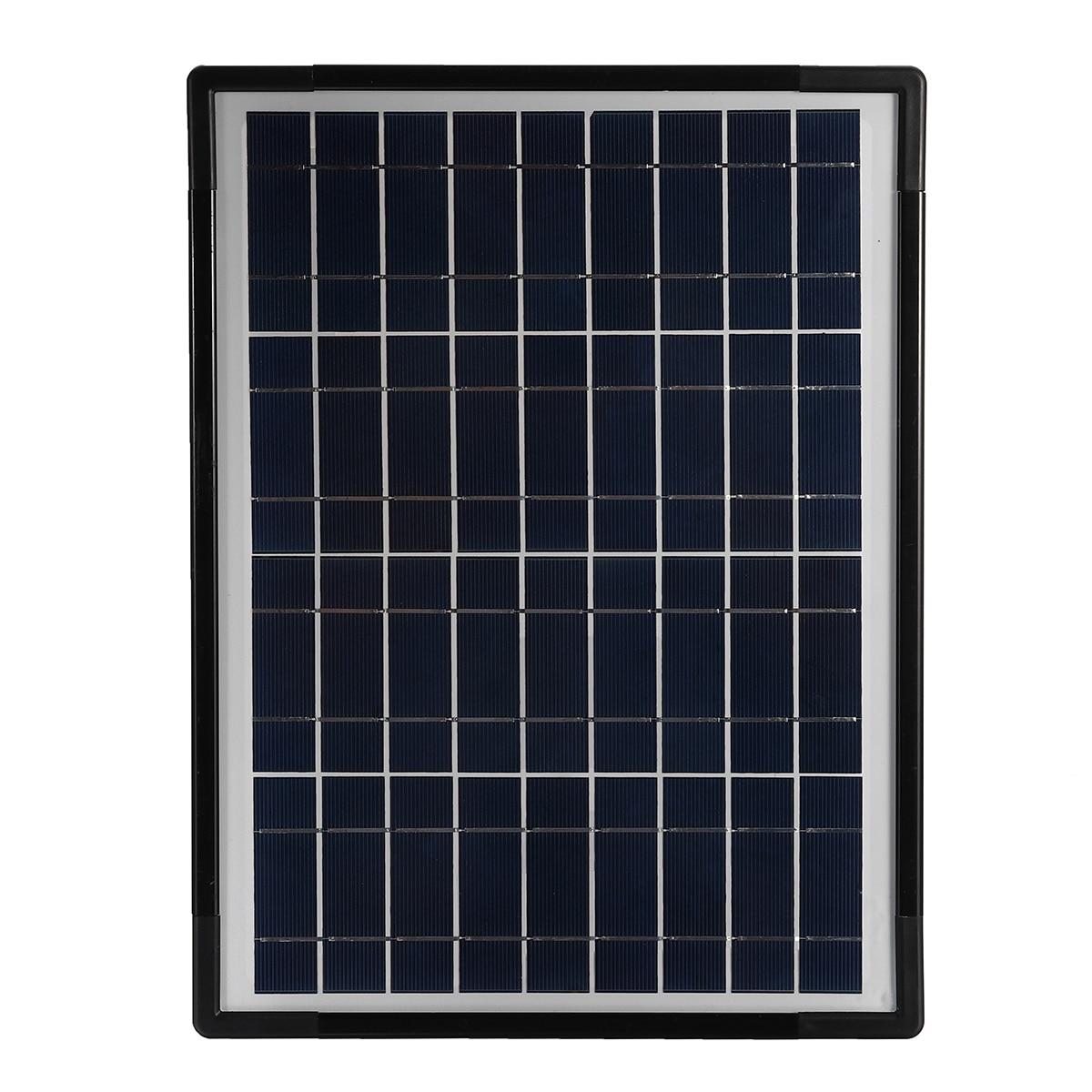 Lumière LED chargeur USB 18 W panneau solaire générateur de stockage d'énergie Kit de système domestique Rechargeable LED de mer batterie au plomb ABS + PC 10 V - 5