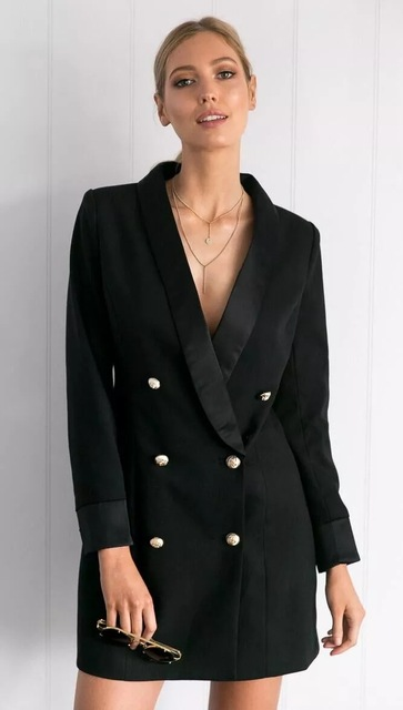 a97e85a4ddd Autumn Fashion women blazers and jackets double-breasted Chic Ladies blazer  feminino coat female Solid Long Style Black blazer