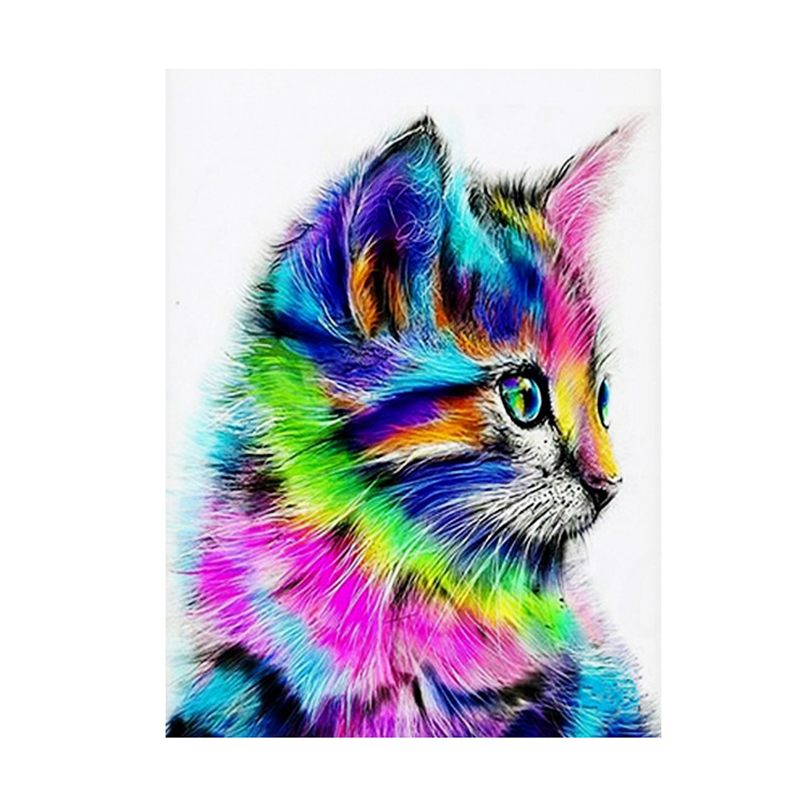 PPYY NEW -Frameless Abstract Cat Animal Painting By Numbers Acrylic Paint On Canvas