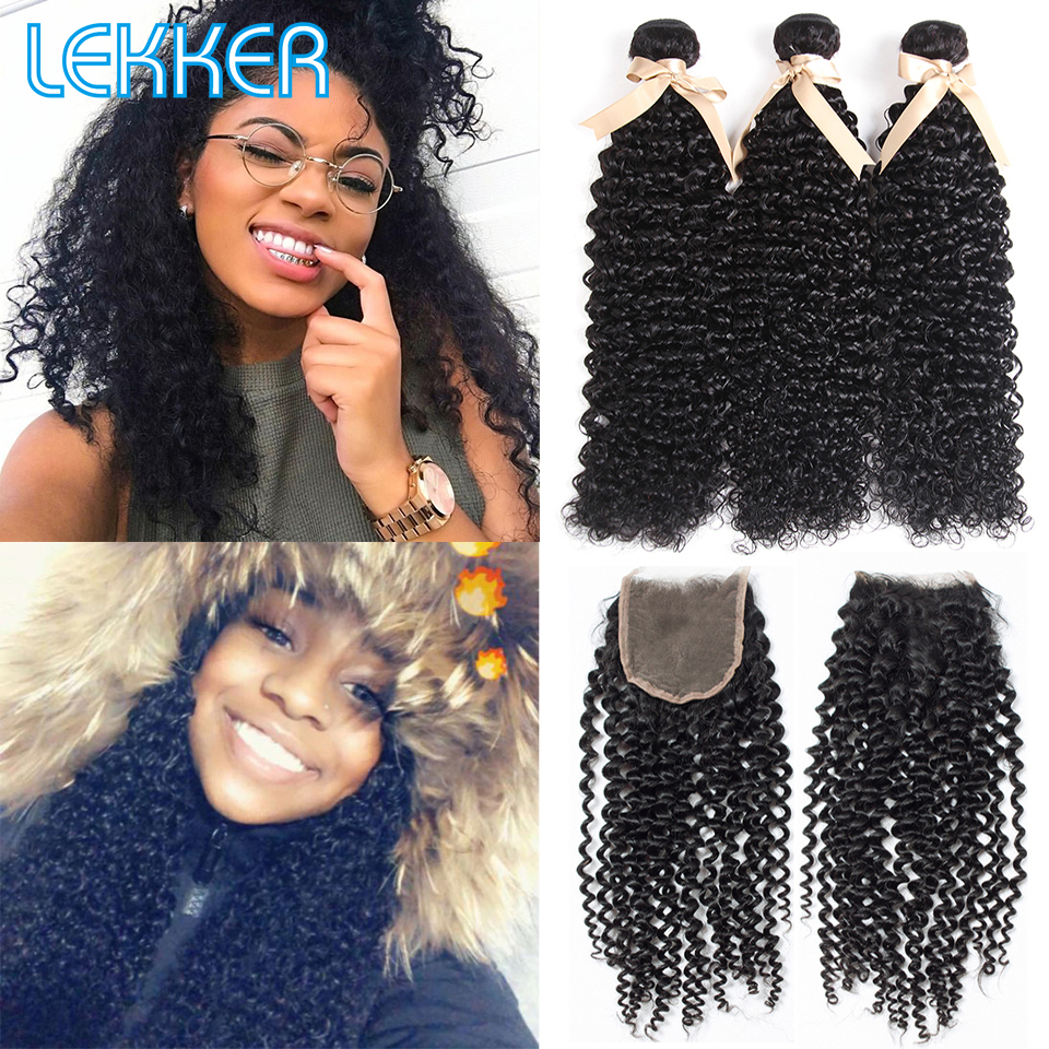Lekker Brazilian Afro Kinky Curly Hair Wave Bundles With Closure 100% Human Hair Weave 2 3 Curl Bundles With 4*4 Lace Closure