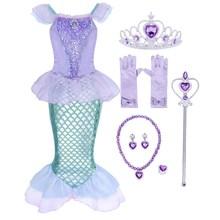 Костюм Русалочки AmzBarley, платье принцессы Ариэль для девочек на день рождения, маскарадный костюм, детская одежда на Хэллоуин с короной