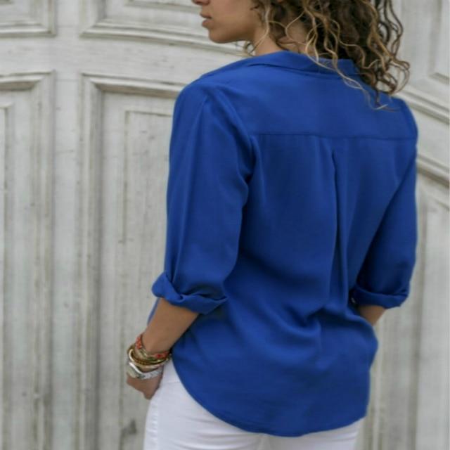 Lossky Women Tops Blouses 2018 Autumn Elegant Long Sleeve Solid V-Neck Chiffon Blouse Female Work Wear Shirts Blouse Plus Size   5