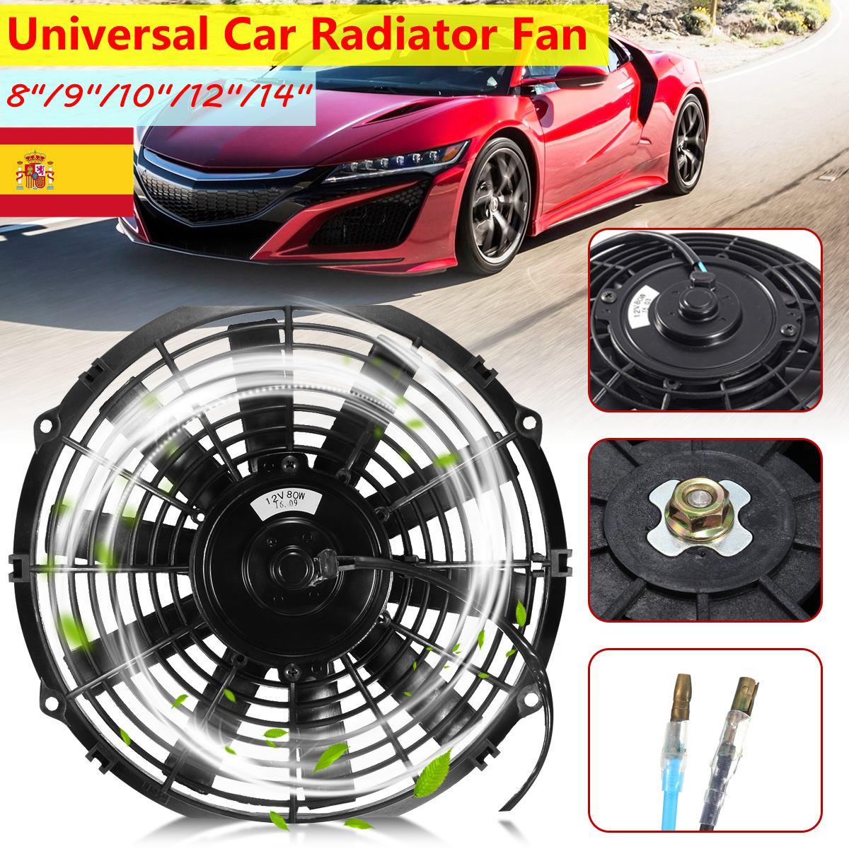 Universale 12 V 80 W 2100 RPM Dritto Lama Nera Lama di Auto Elettrica di Raffreddamento Del Radiatore Ventola Del Radiatore Kit 8