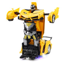 Yellow RC Car Transformation Robots Sports Vehicle Model Robots Toys Cool Deformation Car Kids Toys for Children Boys Girl Gifts(China)