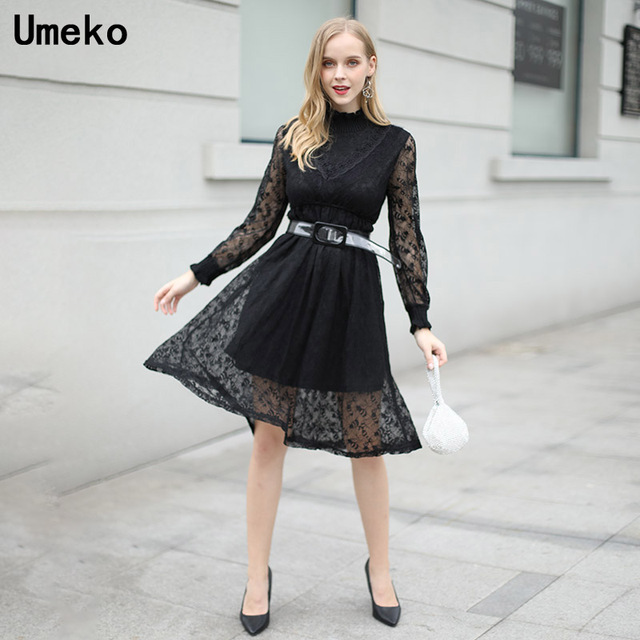 f440b266c1 US $22.43 49% OFF|Aliexpress.com : Buy Women Lace Dress Long Sleeve Party  Vintage Sweater Turtleneck Black White Dress Winter Elegant Lady Balt ...