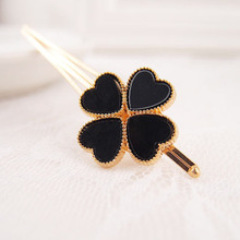 Free Shipping GirlsHairpins in gold color Hair Clips with Four-leaved clover three colors designs 12pcs-lot