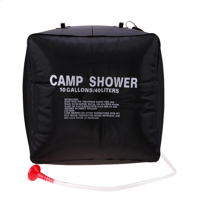 40L Foldable Water Bag PVC Shower Bag Outdoor Camping Hiking Solar Energy Heated Shower Bathing Travel Kits Naturehike Black New