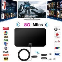 1080P 80-мильная дальность с двойной усиленный HD ТВ антенна со съемной усилитель сигнала и формирующая листы для кровли 4 м коаксиальный кабель для цифрового ТВ антенна