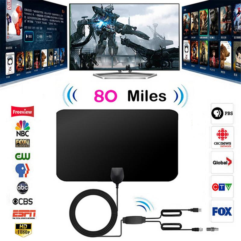 1080P 80 Mile Range Double Amplified HDTV Antenna With Detachable Signal Amplifier Booster 4M Coaxial Cable Digital TV Antenna