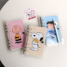 SIXONE Simple Style Rogue dog Loose Page Handbook A6 Grid Notebook Student Travel Diary stationery school supplies travel literature and art notebook a6 creative retro european diary diy student handbook customization