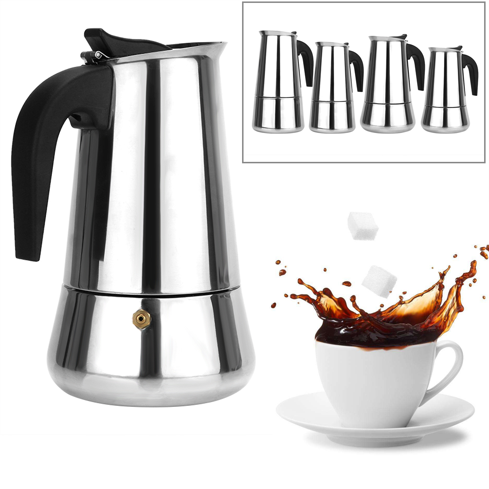 Coffee Pot 300mL/450mL Coffeeware Kitchen Tools Moka Coffee Maker Stainless Steel Teapot