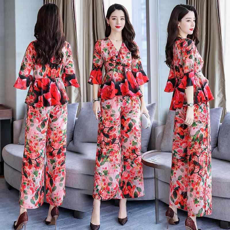 2019 Весенние новые женские рубашки с v-образным вырезом и широкими штанинами с цветочным принтом женские костюмы из двух предметов высокого качества