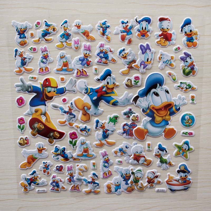 6 sheets Children Cartoon Donald Duck Yellow duck Bubble Stickers Toy Cute Baby 3d sticker for laptop car skateboard6 sheets Children Cartoon Donald Duck Yellow duck Bubble Stickers Toy Cute Baby 3d sticker for laptop car skateboard