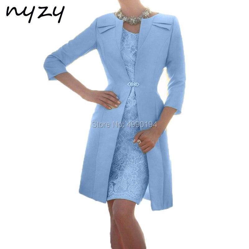 NYZY M119F mère du marié avec boléro 2 pièces robes de fête de mariage pour mère de la mariée élégant bleu église costumes 2019