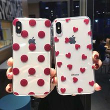 Lovebay Transparan Merah Anggur Ponsel Case untuk iPhone X Max XR X 8 7 6 6 S PLUS 5 5 S SE Polka Dot Cinta Hati Back Case Cover Shell(China)