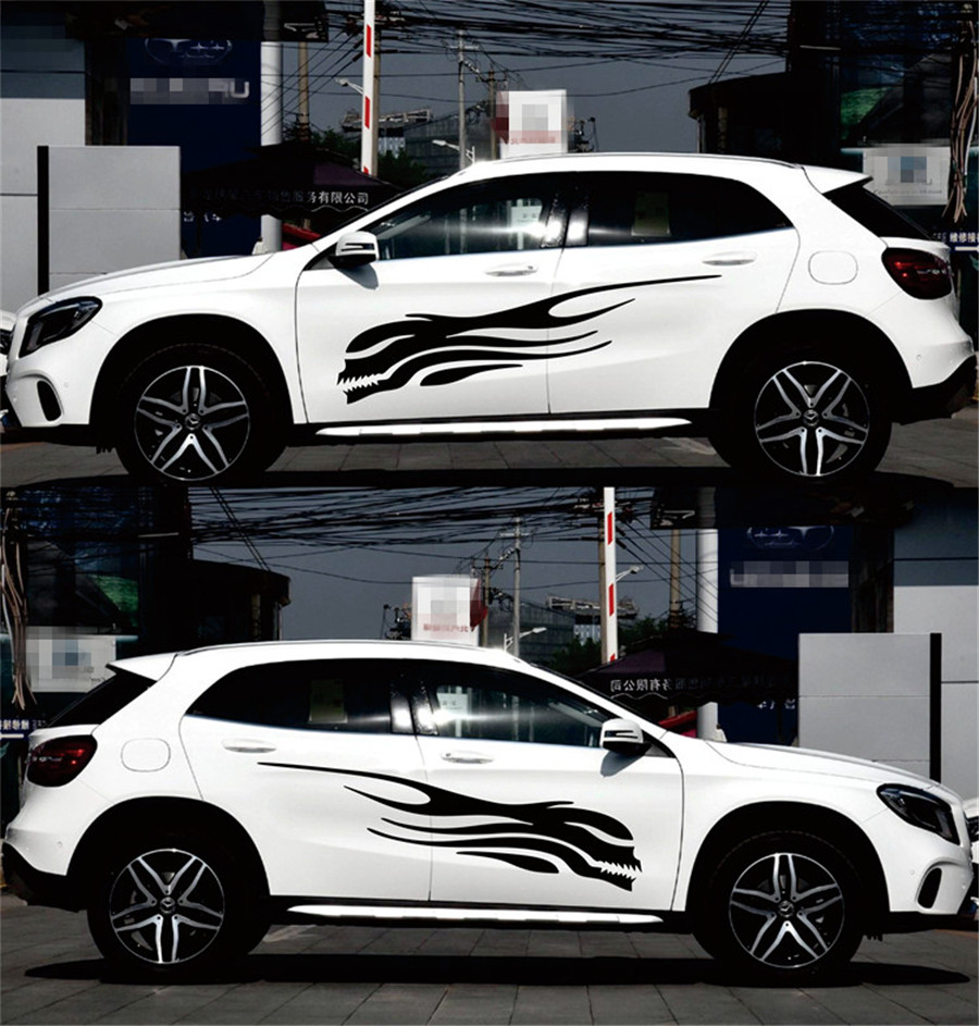 Left and Right Skeleton Flame Car Stickers Decals Side Skirt Vinyl For Racing Car Body in Car Stickers from Automobiles Motorcycles