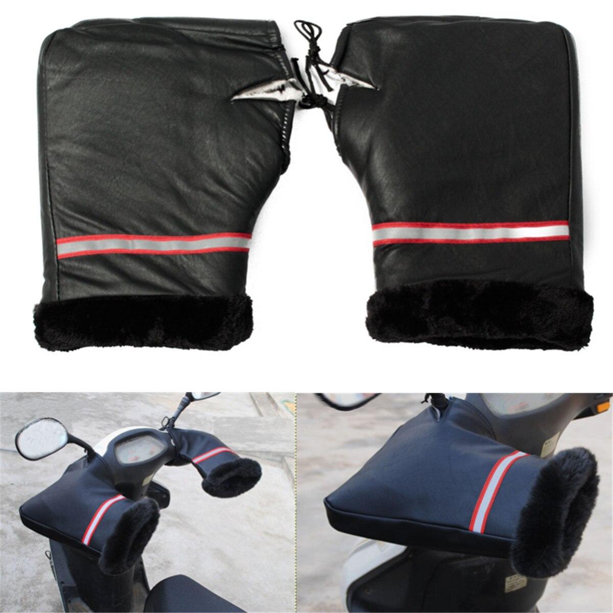 Waterproof Windproof Winter Warm Motorcycle Scooter Quad Bike Grip HandleBar Hand Cover Glove Handlebar Fur Muffs Glove