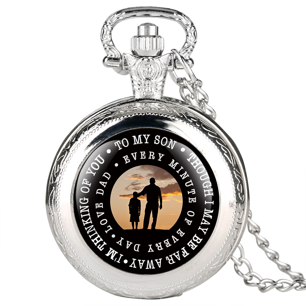 Antique Quartz Pocket Watch For Son Love Dad Series Pocket Watches For Child Full Cover Small Size Watch Round Dial For Kids