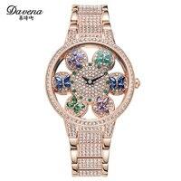 Davena Lady Women's Watch Crystal Hours Fashion Clock Rotate Butterfly Hollow Bracelet Luxury Brand Rhinestones Birthday Gift