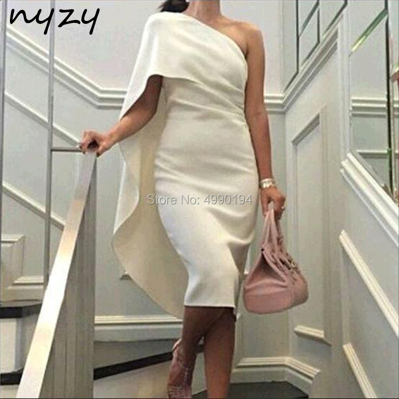 One Shoulder Cape Sleeve Cocktail Dresses White Jersey Elegant Dress Women For Wedding Party Graduation Homecoming 2019 NYZY C47