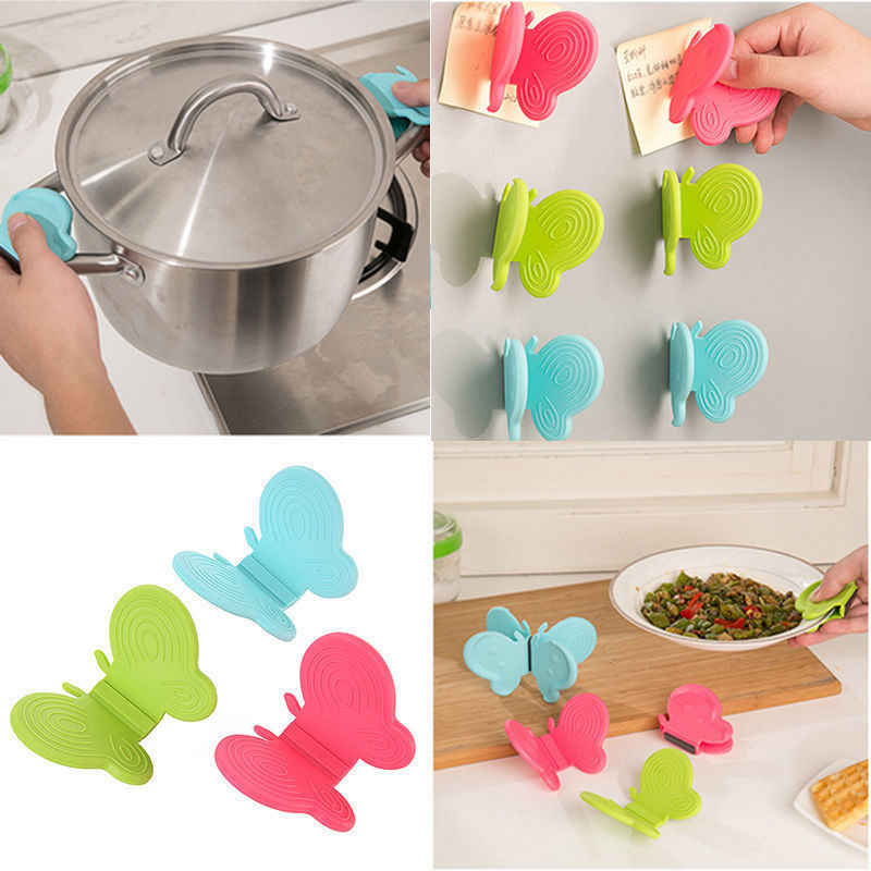 3PC Adorable Butterfly Silicone Anti-Scald Device Kitchen Tools Cooking Microwave Non-slip Gripper Holder