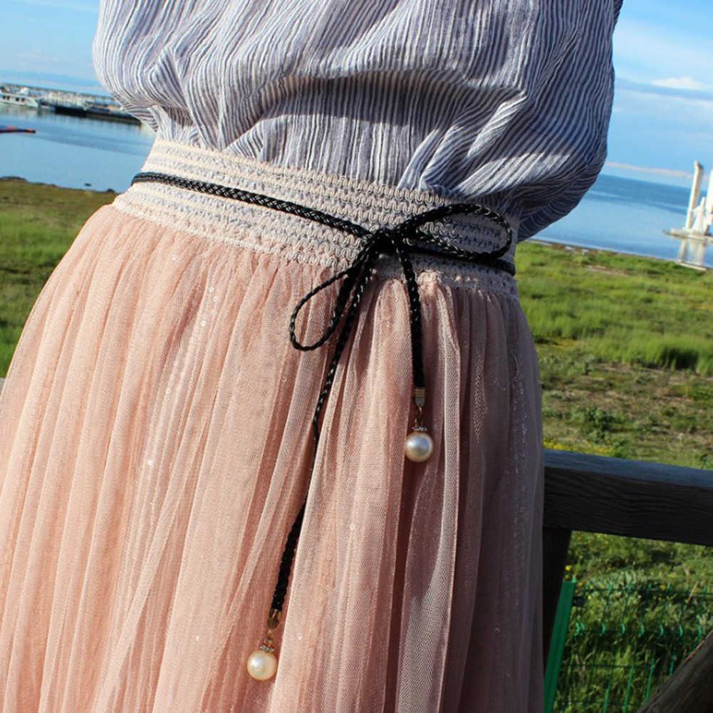 المرأة حزام نمط الحلوى اللون الخصر سلسلة القنب حبل مضفر لؤلؤة كبيرة حزام ملابس يدوية أحزمة أنيقة الأبيض أسود أحمر