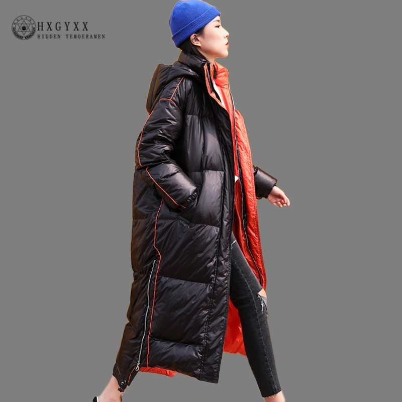 Winter Jacket Woman Quilted Coat Long 2019 Bright Cotton Parka Female Plus Size Loose Zipper Thick Warm Outwear Korean Okd647