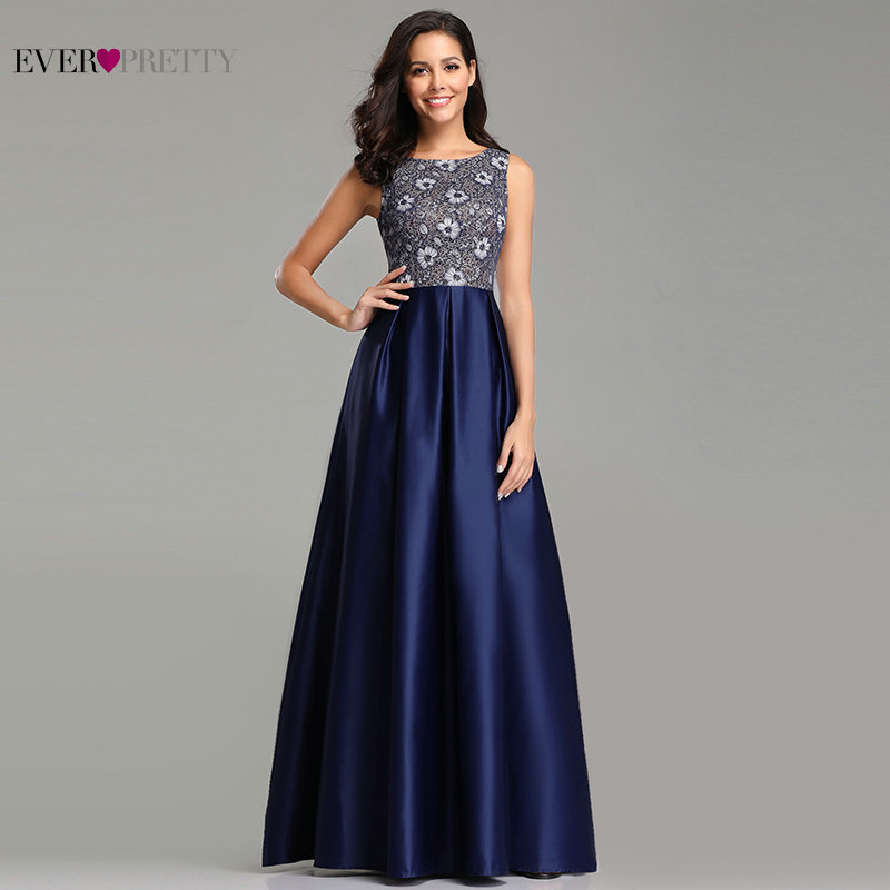Evening     Dresses   Muslim Ever Pretty Elegant A-line Navy Blue Lace Long Prom Gowns Sexy Satin Wedding Guest Gowns Rrobe Bleu Royal