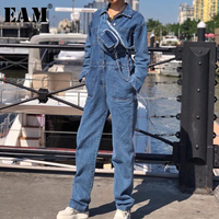 [EAM] 2019 Spring Woman New Personality Stylish Handsome Blue Color Long Turn down Collar Denim With Waistbag Jumpsuits LI217