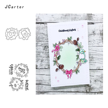 JCarter Flower Fruit Bird Wreath Metal Cutting Dies or Clear Stamps for Scrapbooking DIY Embossing Folder Paper Maker Template