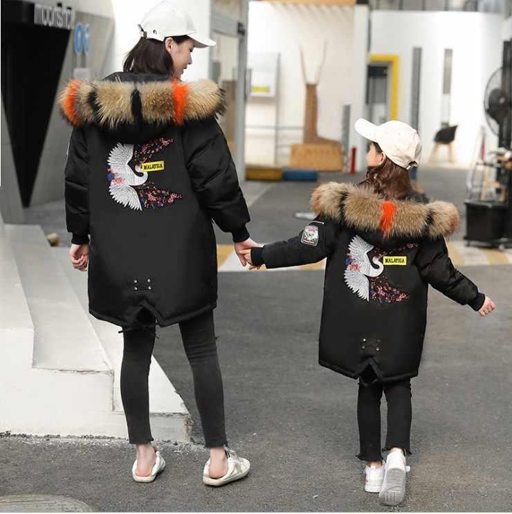 子供服リアルビッグ付きロングデザイン刺繍ダウンジャケットパーカーロシア冬服オーバーコート母ガール