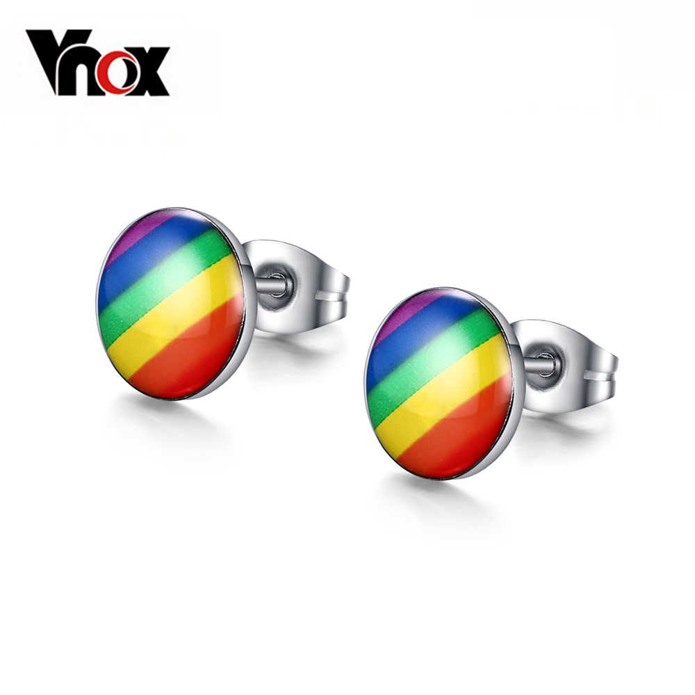 Vnox Stainless Steel Rainbow Round Stud Earring Cute Party Jewelry