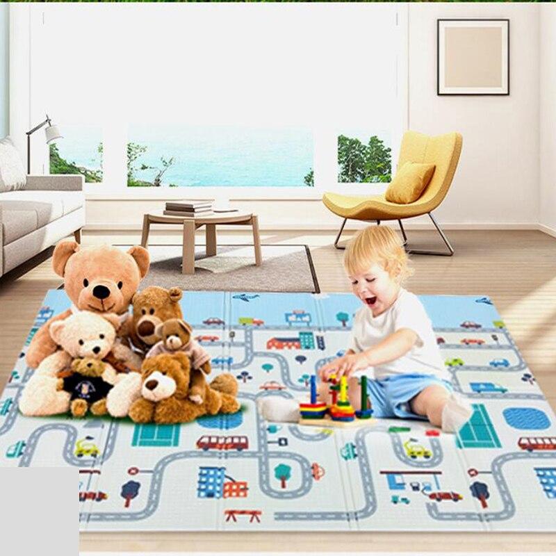 Pliable Bébé tapis de jeu dans la Pépinière Xpe Tapis de Puzzle Enfants Épais Chambre marchepied roulant 196*148 CM Sol Souple en développement Jouets