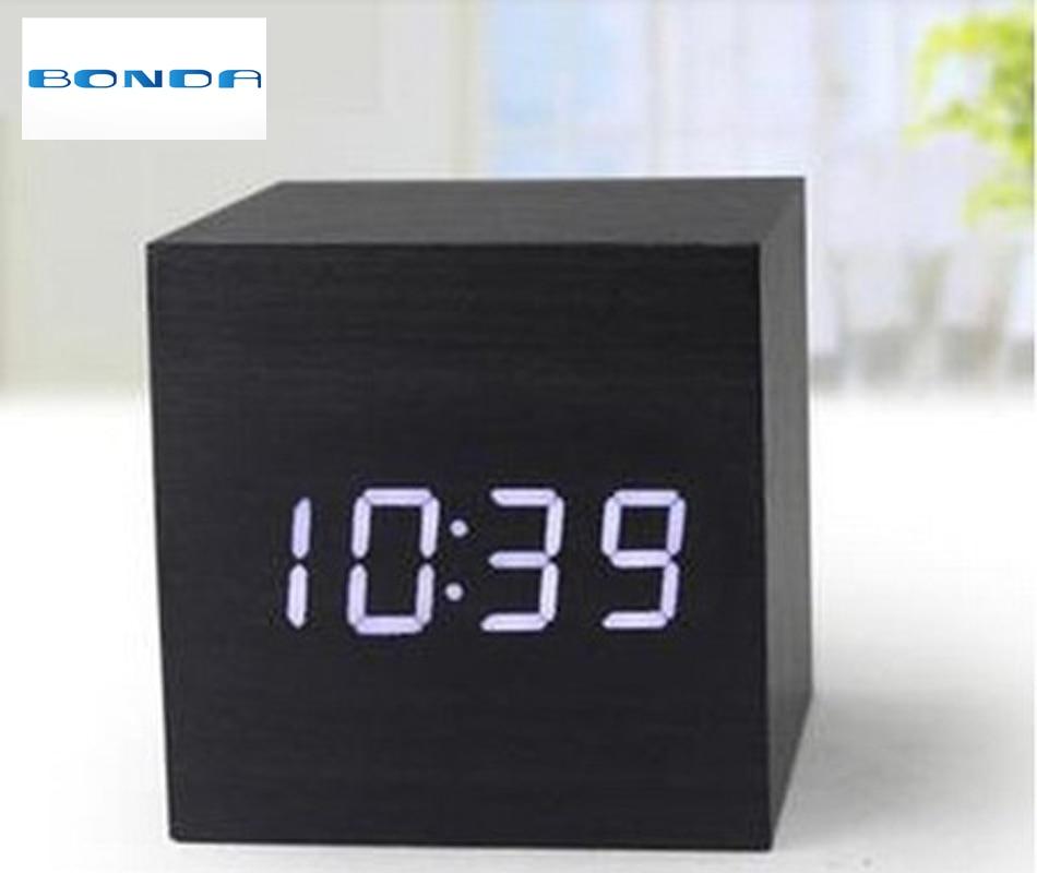 Cube wooden LED Alarm Clock,despertador Temperature Sounds Control LED display,electronic desktop Digital table clocks,SKU4A4A3