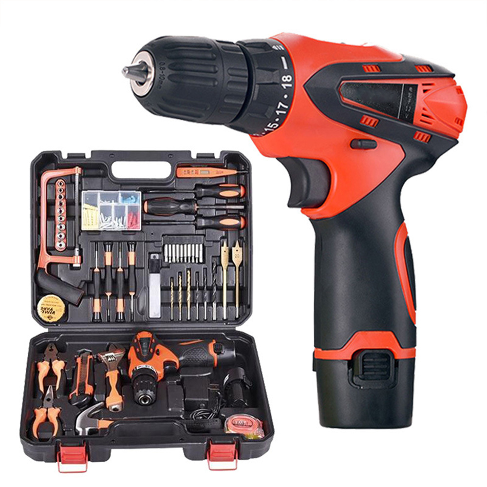 Power Tool Sets DC Lithium-Ion Battery Cordless Drill Driver Power Tools Set Screwdriver Electric Drill Kit Woodworking Tools 18v dc lithium ion battery cordless drill driver power tools screwdriver electric drill with battery included