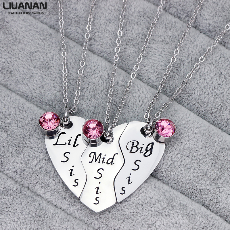 Big Sis Middle Sis Little Sis Jewelry Necklace Set 3 Sisters Pendant BFF Best Friend Necklaces Girls Jewelry Gift for Sister in Pendant Necklaces from Jewelry Accessories