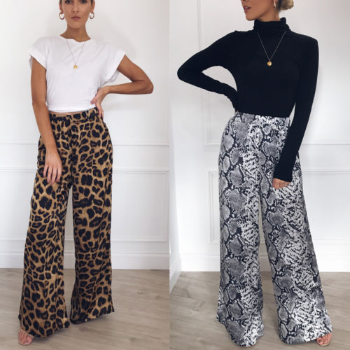 Womens Floral Print Wide Leg Palazzo Trousers Ladies Flared Harem Pant