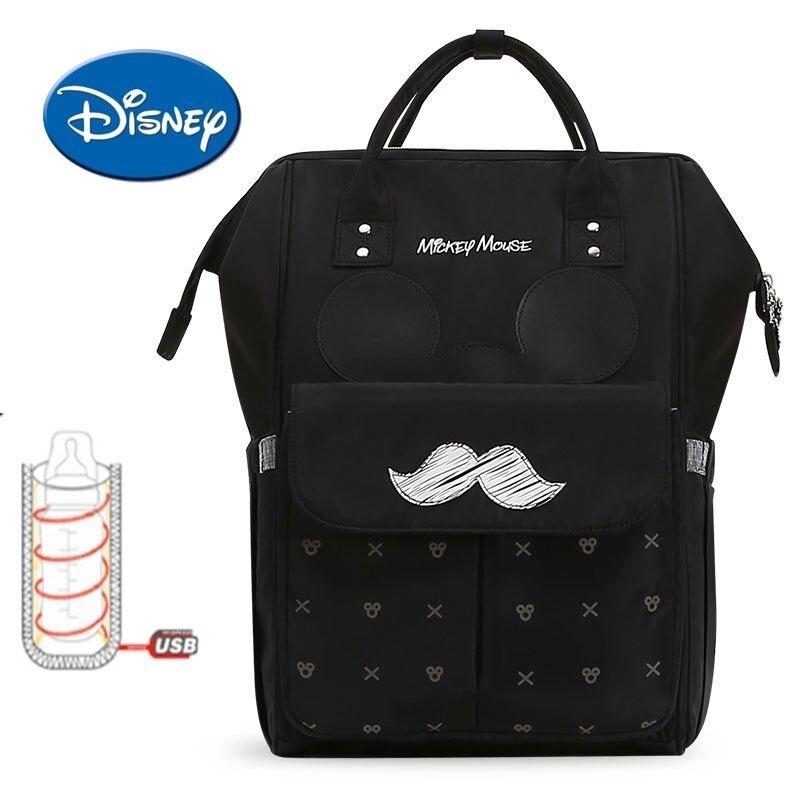 Disney Sacchetto Della Mummia USB Riscaldamento Impermeabile sacchetto Del Pannolino della Mummia Maternità Pannolino Borsa Da Viaggio Zaino di Grande Capienza Sacchetto di Cura Del Bambino