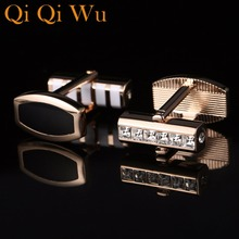 2018 New Styles Classic Cufflinks For Mens Shirt Crystal Cuff Buttons High Quality Business Cuff links Wedding Gift Qi Qi Wu vintage sell high buy now stock market cufflinks for men shirt cuff buttons business sleeve nail steel brothers gift for friend