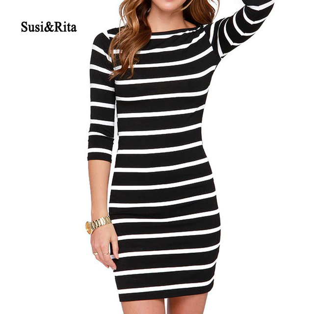 66189886da3 Susi Rita Autumn Striped Cotton Dress Women Casual Half Sleeve Bodycon Dress  Winter 2017 Elegant Ladies Dresses Vestidos