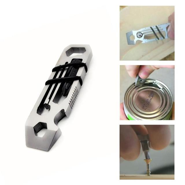 6 in 1 Stainless Steel EDC Gadget Outdoor Equipment Hiking Camping Keychain Supplies Bottle Opener Multi-Function Tools Wrench