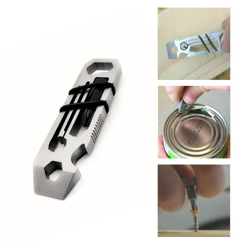 EDC Carabiner Keychain 6 in 1 EDC Gadget Outdoor Equipment Camping Keychain Supplies Bottle Opener Wrench Multitool(China)