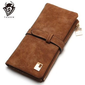 Drawstring Nubuck Leather Zipper Women Wallet