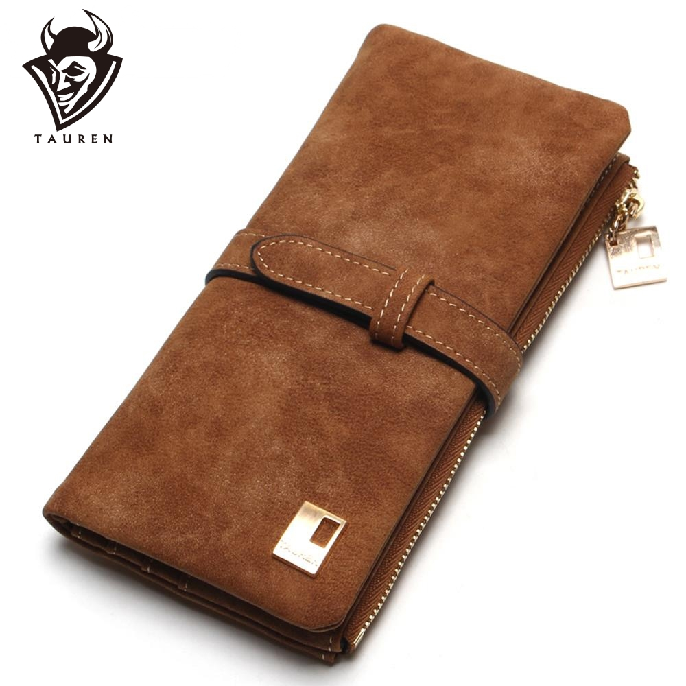 2019 New Fashion Women Wallets Drawstring Nubuck Leather Zipper Wallet Kvinner Long Design Purse Two Fold Mer Farge Clutch