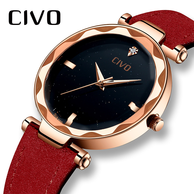 CIVO Ladies Watch  Genuine Leather Quarts Fashion Elegant Women Wrist Watch Luxury Brand Relogio Feminino Watches Reloj Mujer