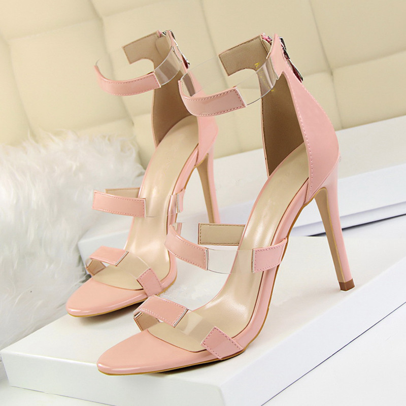 2018 Women Classic 10cm High Heels <font><b>Fetish</b></font> Sandals Big Size 40 Female Gladiator Summer <font><b>Shoes</b></font> Lady <font><b>Sexy</b></font> Pumps <font><b>Shoes</b></font> DS-A0205 image