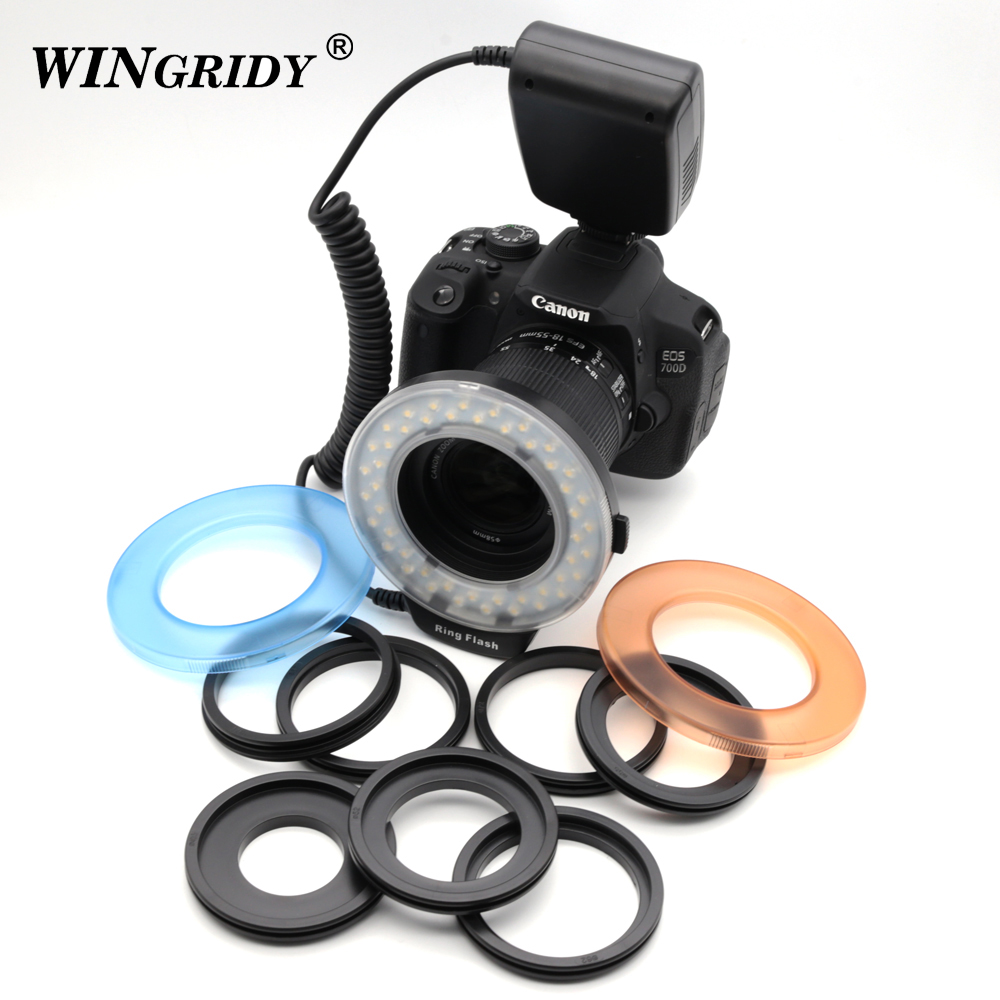 HD-130 Ring Flash Light HD130 LED Video Light Camera Ring Flash Photographic Lighting With LCD Display For Photo Studio DSLR