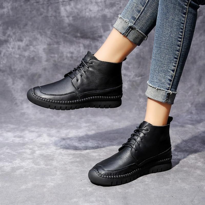 Casual De Mujeres Cuero Otoño Encaje Plataforma Mujer Botas Para Tobillo Zapatos Black Plano Y Wintergenu Las UR8dq