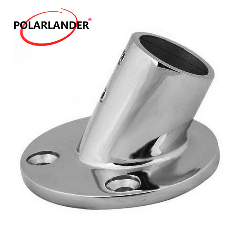 "Boat Hand Rail Fittings 60 Degree 1/"" Round Base Marine Stainless Steel"